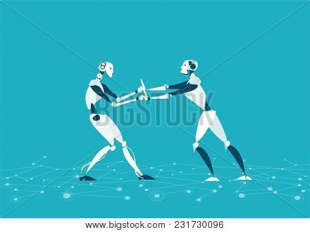 Rpa, Robotic Progress Automatisation Concept Illustration. Two Robot Fighting For The Leading Positi