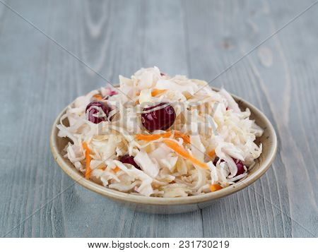 Traditional Russian Appetizer Sauerkraut With Cranberry And Carrot In Craft Plate On Gray Rustic Woo