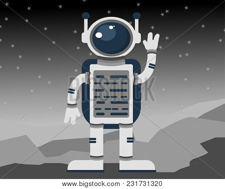 The Astronaut In An Outer Space. Vector Illustration.