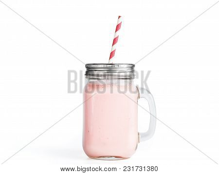 Pink Strawberry Smoothie In Mason Jar Glass. Isolated On White With Clipping Path.