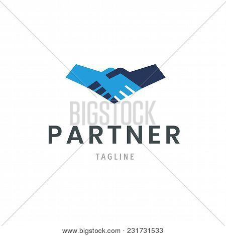 Partner Logo Template Handshake Icon. Hand Shake Isolated Deal Symbol Design. Agreement Sign Vector