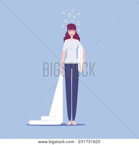 Cartoon Tired Sleepy Woman Standing With Pillow And Blanket In Her Hands Vector Flat Style Vector Il