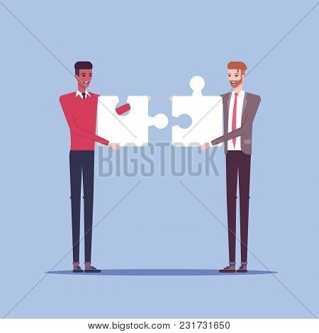 Two Businessmen Characters Connect Piece Of Jigsaw Puzzle Flat Illustration. Two Men In Formal Wear