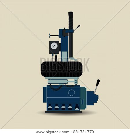 Tire Fitting Equipment For Cars. Equipment For Car Repair. Vector Illustration Of Tire Fitting Equip