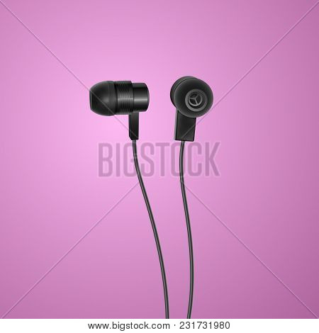Realistic, Black Headphones On Colorful Background, Vector Illustration, Eps 10