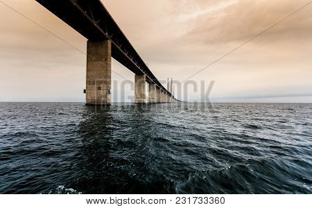 Oresundsbron. The Oresund Bridge Link Between Denmark And Sweden, Europe, Baltic Sea. View From Sail