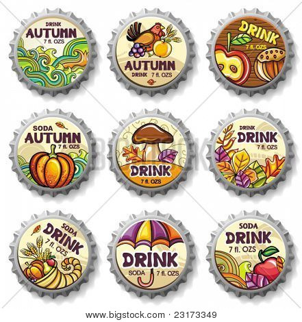 Set of cute autumnal bottlecaps