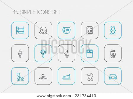 Set Of 15 Editable Relatives Icons Line Style. Includes Symbols Such As Grandson, Aquarium, Pregnant