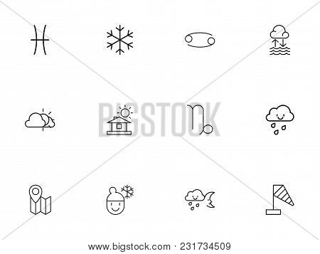 Set Of 12 Editable Climate Icons Line Style. Includes Symbols Such As Drizzle, Gemini, Home And More