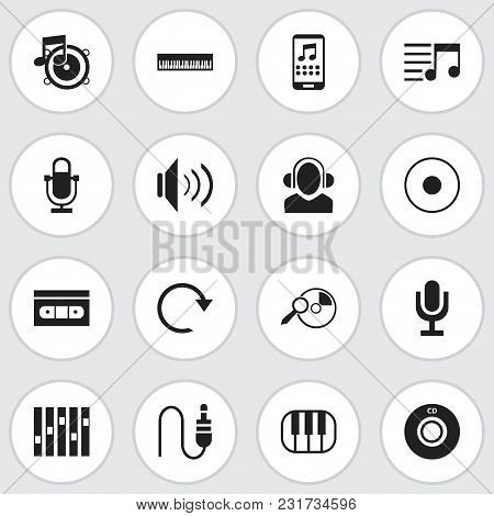 Set Of 16 Editable Media Icons. Includes Symbols Such As Piano, Record, Bass And More. Can Be Used F