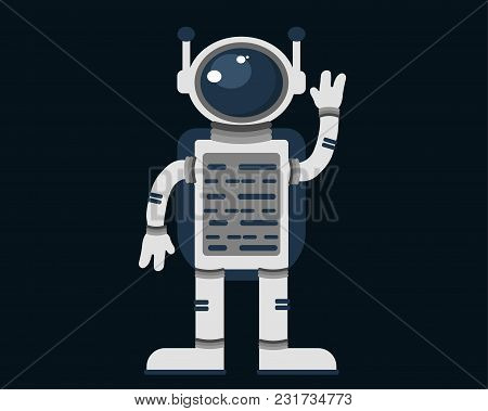 Astronaut Against A Dark Background. Vector Illustration.