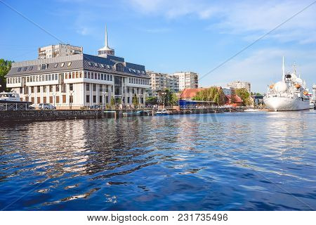 Kaliningrad , Russia-may 11, 2016: Urban Landscape With A View Of The Museum Of The Oceans And A Bea