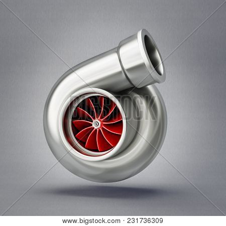 Car Turbine Isolated On A White. 3d Interior