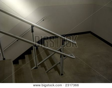Going Down-Dimly Lit Stairwell