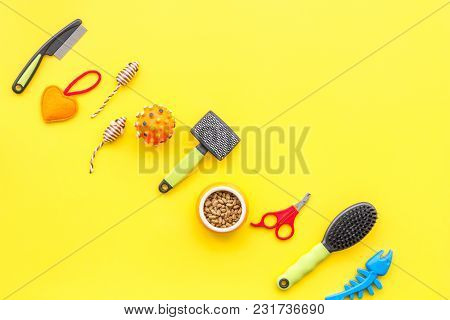 Acessories For The Grooming Of The Dog. Combs And Brushes For Dogs. Yellow Background Top View Mock-
