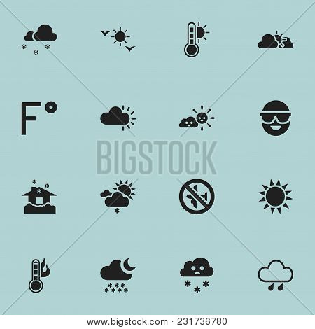 Set Of 16 Editable Weather Icons. Includes Symbols Such As Deluge, Semidarkness, Spectacles And More