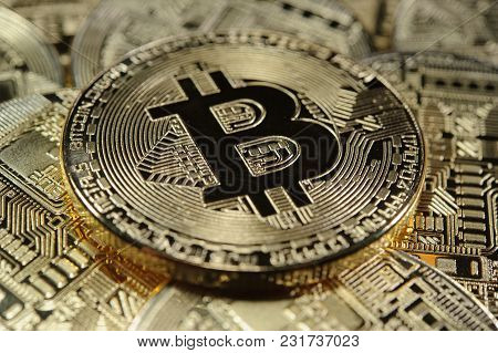 Stack Of Golden Bitcoin Coins. Virtual Currency Concept.