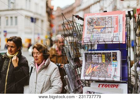 Paris, France - Oct 28, 2017: Womens Next To French International Newspaper Liberation With News Fro