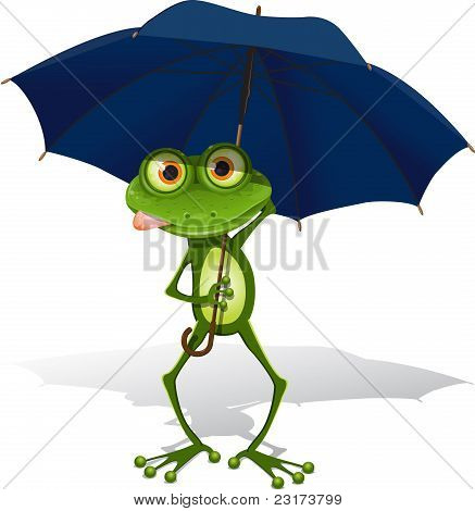 illustration green frog with blue umbrella on white background poster