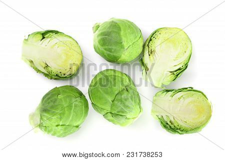 Brussels Sprouts Isolated On White Background Closeup. Top View. Flat Lay.