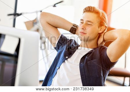 The young businessman relaxed