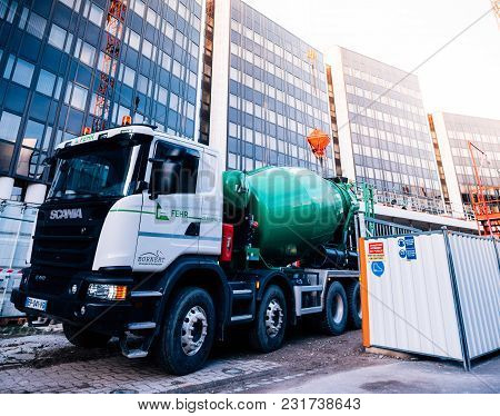 Strasbourg, France - Mar 5, 2018: Scania G410 Cement Truck At The Reconstruction Site Of The Europea