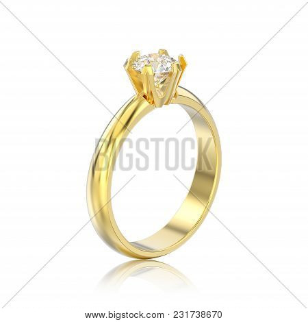 3d Illustration Isolated Yellow Gold Traditional Solitaire Engagement Diamond Ring With Reflection O