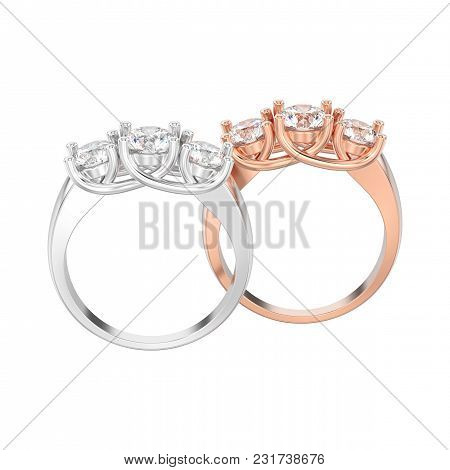 3d Illustration Isolated Two Rose And White Gold Three Stone Diamonds Rings On A White Background