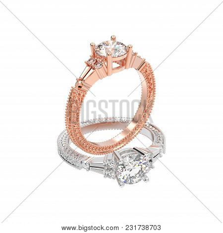 3d Illustration Isolated Two Rose And White Gold Or Silver Decorative Diamond Rings With Ornament On