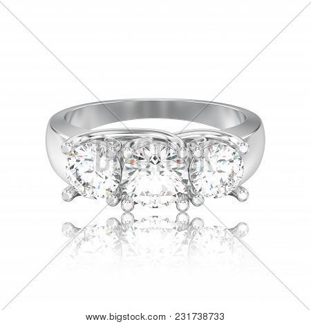 3d Illustration Isolated White Gold Or Silver Three Stone Diamond Ring With Reflection On A White Ba