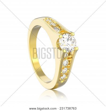 3d Illustration Isolated Yellow Gold Decorative Engagement Wedding Diamond Ring With Reflection On A