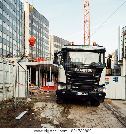 Strasbourg, France - Mar 5, 2018: Front View Of Scania G410 Cement Mixer Truck At The Reconstruction
