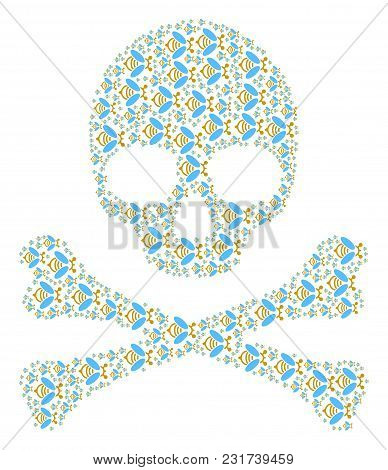 Skull Concept Composed Of Bee Icons. Vector Bee Icons Are Organized Into Conceptual Risk Composition