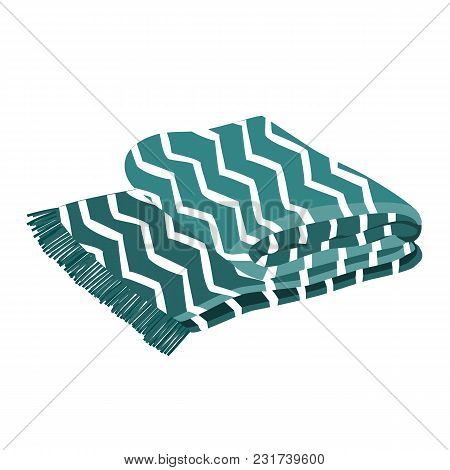 Warm Blue And White Plaid With Trendy Zig Zag Ornament. White Background. Vector Illustration