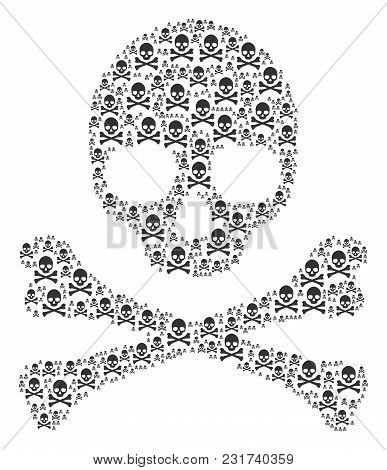 Skull Composition Combined Of Death Skull Icons. Vector Death Skull Pictograms Are Combined Into Mos
