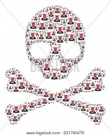 Skull Collage Done Of Devil Pictograms. Vector Devil Icons Are United Into Geometric Horror Illustra