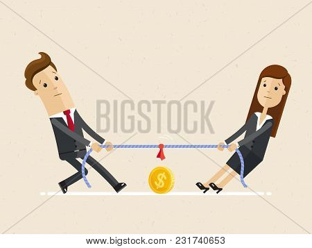 Businessman And Businesswoman Are Unplugging The Power Cable Above The Precipice. Competition Of Col