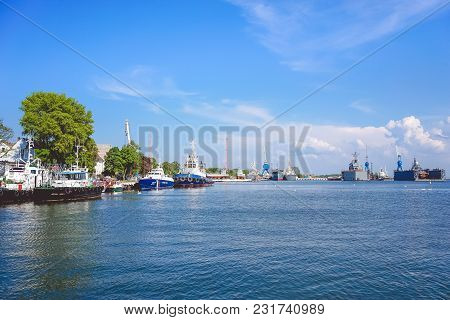 Baltiysk, Russia-may 15, 2016: Seascape With War Ships Under The Blue Sky.