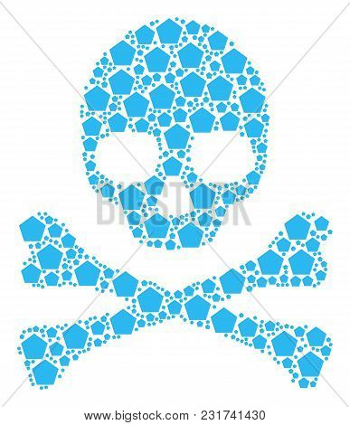 Skull Concept Organized Of Filled Pentagon Elements. Vector Filled Pentagon Icons Are United Into Ge
