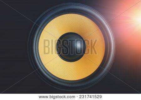 Subwoofer Dynamic Membrane Or Sound Speaker On Black Background With Light Effect, Hi-fi Loudspeaker