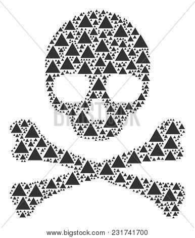 Skull Pattern Organized Of Filled Triangle Icons. Vector Filled Triangle Elements Are Organized Into
