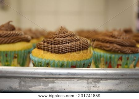 Delicious Hand Made Brown Sugar And Vanilla Cupcakes With Homemade Chocolate Butter Cream Frosting S