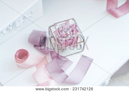 Wedding Accessories. Elegant Decorated Box For Wedding Rings.