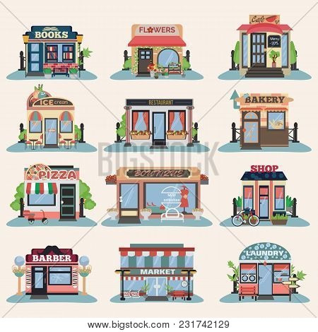 Set Of Vector Flat Facade Icons. Bakery, Flowers, Cafe, Restaurant, Pizza, Books, Barber, Ice Cream