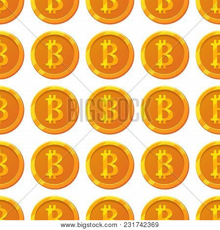 Bitcoin Pattern For Game Design, Business, Web Design, App.golden Bitcoin Icon, Cryptocurrency. Digi