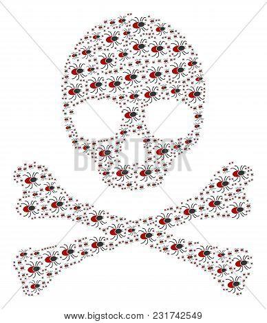 Skull Pattern Designed Of Mite Tick Design Elements. Vector Mite Tick Design Elements Are Organized
