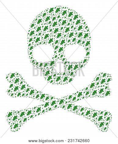 Death Pattern Made Of Oak Leaf Design Elements. Vector Oak Leaf Elements Are United Into Conceptual
