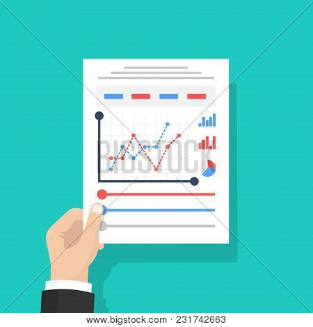 Businessman Hold In Hand Document With Charts And Graphs Business Reports. Isolated On Background. P