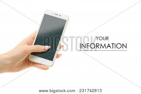 Mobile Phone Smartphone In Female Hands Pattern On White Background Isolation