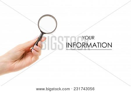 Magnifier In Hand Pattern On A White Background Isolation